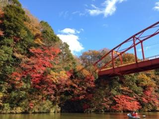 亀山湖の紅葉写真