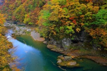 抱返り渓谷の紅葉写真