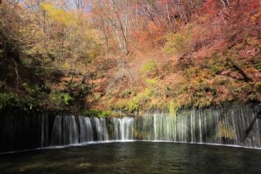 軽井沢 白糸の滝の紅葉写真