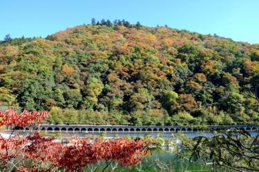 相模湖の紅葉写真