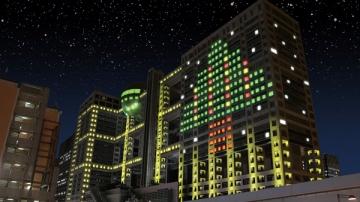 フジテレビ本社ビルのイルミネーションの写真