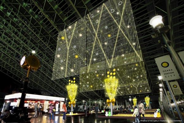 JR大阪駅・大阪ステーションシティ 5F 時空の広場のイルミネーションの写真